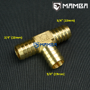 "Brass 3/4"" Hose 3 way barb Tee fittings (Union Hose-Barb Tee)"